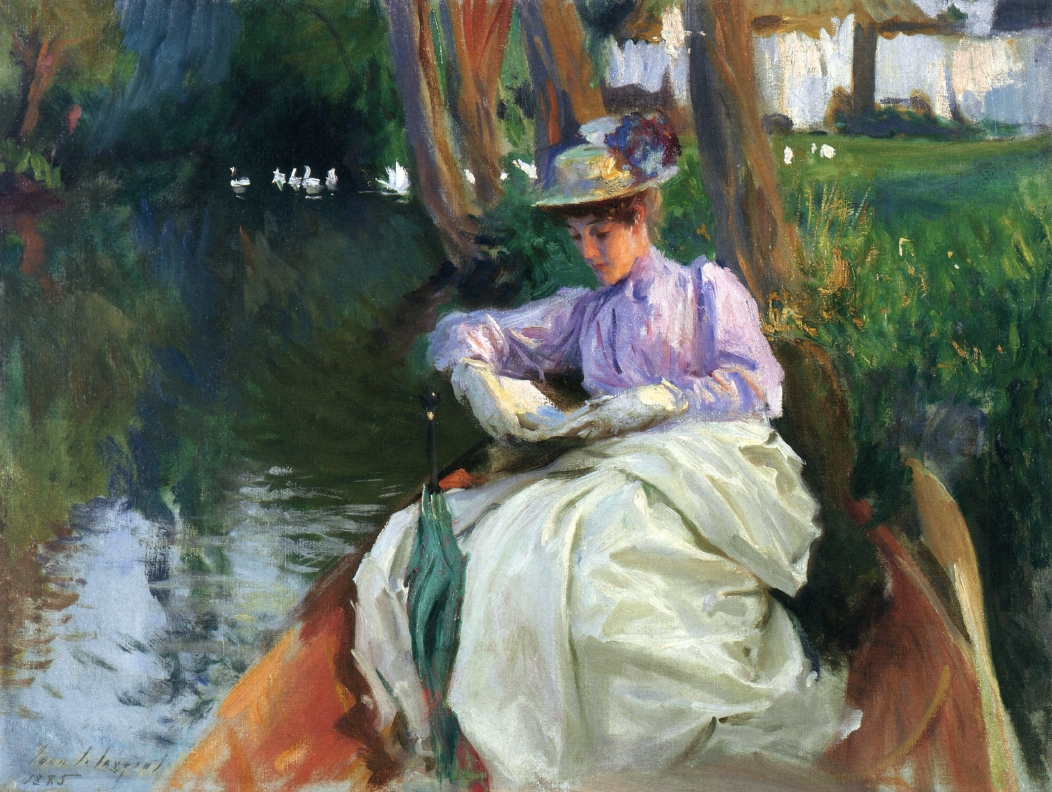 Painting titled By the River by impressionist painter John Singer Sargent